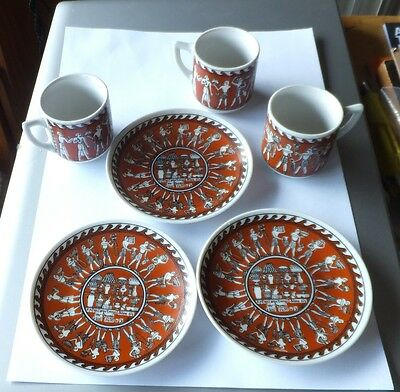espresso coffee cups saucers ancient egyptian design brown shaby chic retro