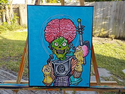 Mars Attacks hand painted acrylic on canvas Popartrazzia signed Comic Painting