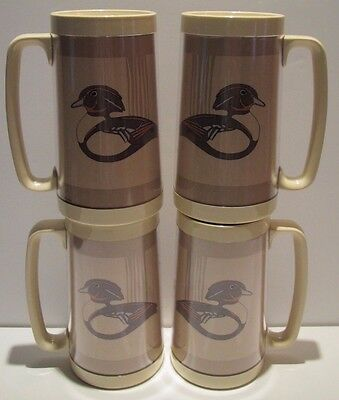 Vintage lot 4 Duck Bird Fowl Thermo Serv Mugs Steins Tan Gray Wood Duck 1987