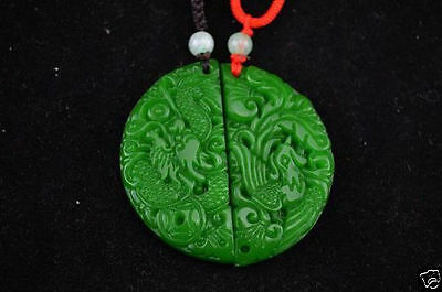 Ancient Chinese natural jade hand-carved A pair of lovers pendant-Dragon phoenix