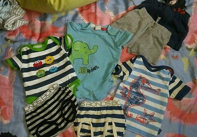 Baby boys 000 bundle: sprout, Bonds, Sesame Street. Bodysuits, shorts, tee.