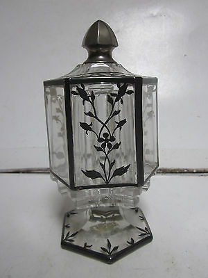Antique Heavy Crystal Silver Overlay Victorian Covered 3 Cruet Holder Floral