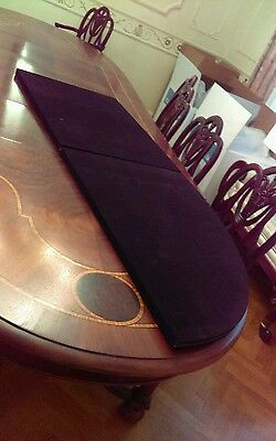 Final Listing 11 Ft! Antique Marquetry Inlay Dining Table 4 Leaves Custom Pads