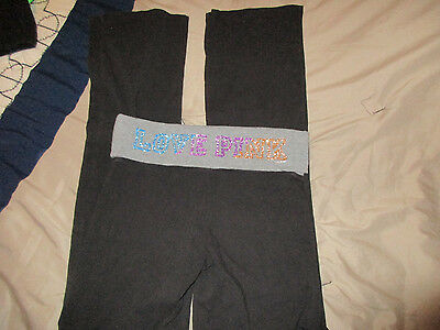 Victoria's Secret Pink Yoga Pants Black with Bling Rainbow Size Small