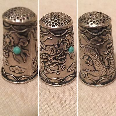 Antique Vintage Silver Thimble - Dragon Chinese Long Turquoise Stone Beautiful
