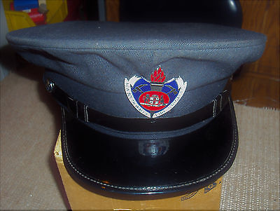 Vintage & Rare New South Wales Fireman'S Dress Hat With Badge