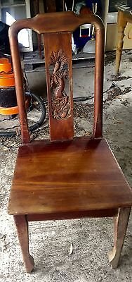 antique hand carved 1900s asian red cedar chair