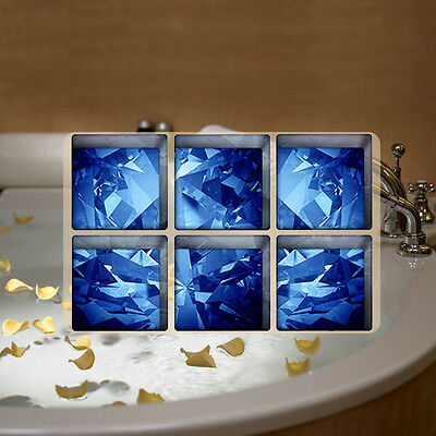 6PCS/Set Blue Ice Cube Table Mats 3D DIY Bathtub Anti-slip Sticker Self-adhesive