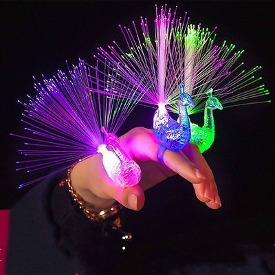 5/10pcs Beams Peacock Light Up Finger Ring Laser LED Party Club Glowing Stick