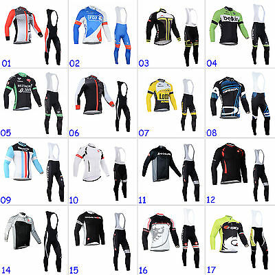 Men Cycling Bike Long Sleeve Clothing Sets Bicycle Sports Jersey Bib Pants Suits