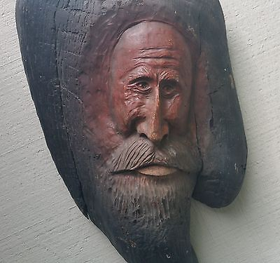 SANDY Oregon river beach cabin sturgeon fishing guide vtg wood carving face art