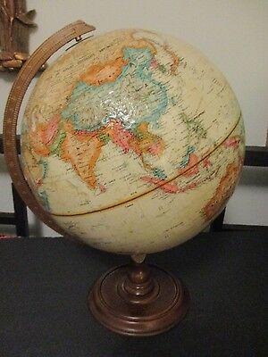 """REPOGLE Vntg Globe w/ USSR & Raised Relief abt 17"""" Tall, Wooden Base"""