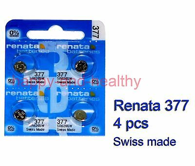 Renata SR626SW 377 Silver Oxide button Battery x 4 pcs Swiss Made FREE Post