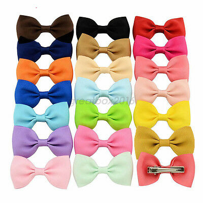 20Pcs Hair Bows Band Boutique Alligator Clip Grosgrain Ribbon For Girl Baby Kids