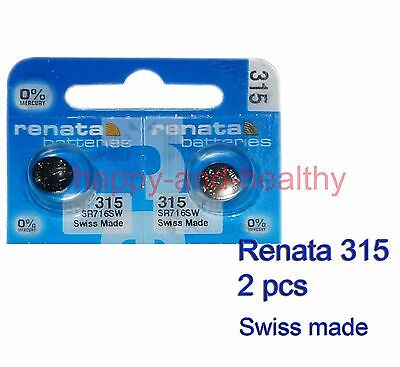 New Renata SR716SW 315 Silver Oxide button Battery x 2 pcs Swiss Made FREE Post