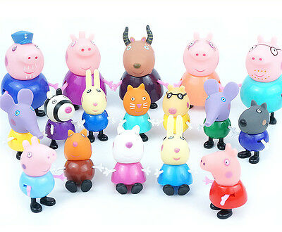 17pcs/lot Peppa Pig Grandpa Grandma Family & Friends Ms Gazelle Toys Kids Gift