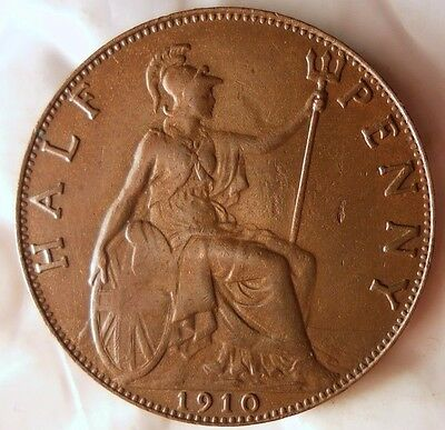 1910 GREAT BRITAIN 1/2 PENNY - High Grade Coin - FREE SHIP WORLDWIDE - HV24