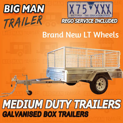 6x4 SINGLE AXLE PLUS REGO 900MM CAGE BOX TRAILER GALVANISED CAGE HEAVY DUTY 7x4