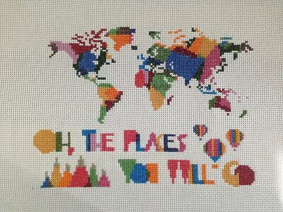 Completed Finished Cross Stitch Handmade Home Wall Decoration World Map Kid Room