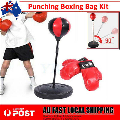 Punching Bag Boxing SpeedBall Speed Training Stand + Gloves Pump Set BBY