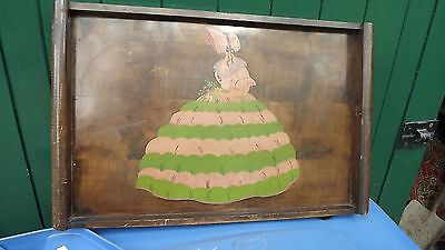 1930's Art Deco large wooden tray with crinoline lady depicted