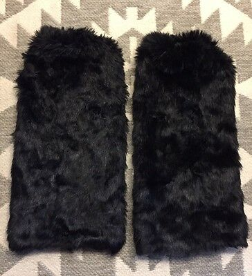 Black Fluffies Furry Fluffy Leg Warmers Rave Faux Fur Boot Covers Rave GoGo