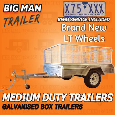 7x5 WITH SPARE WHEEL 900MM Cage SINGLE AXLE Trailer Galvanised MEDIUM Duty