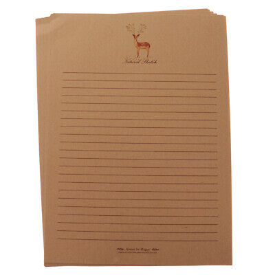 50pcs Vintage Christmas Deer Letter Lined Writing Paper Stationery Gift Craft