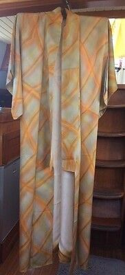 FAB CHECK ORANGE VINTAGE SILK JAPANESE FULL LENGTH KIMONO CIRCA 60's-80's
