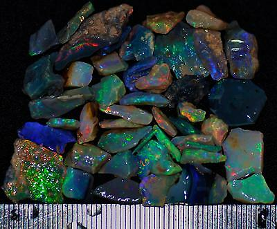 50 CARATS OF SOLID QUALITY LIGHTNING RIDGE ROUGH RUBBED BLACK OPAL PARCEL 18b