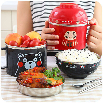 Cute Cartoon Stainless Steel Bowl Lunch Box Food Container Bento Box 2 Layer