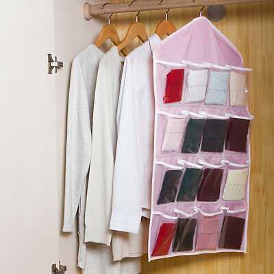 16 Pockets Travel Organiser Storage Hanging Wash Bag Toiletry Clothes Closet Bag