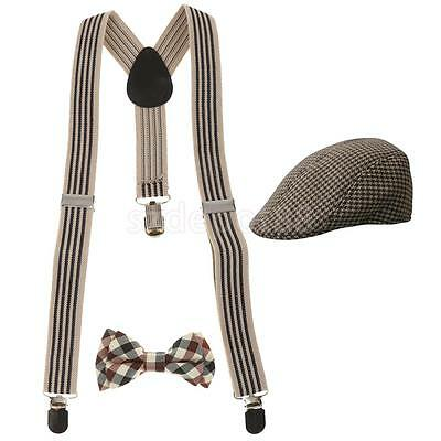 Kids Universal Y-shape Suspender Bowtie Country Peaked Hat Newsboy Baker Set