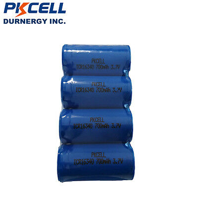 4PCS CR123A RCR 123 ICR 16340 Battery 700mAh 3.7V Li-ion Rechargeable Batteries
