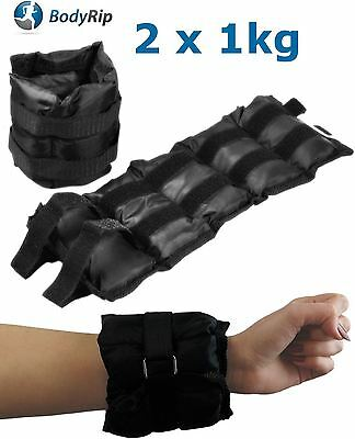 BODYRIP 2 x 1kg WRIST ANKLE WEIGHTS WRAPS STRAPS ADJUSTABLE SANDBAG GYM EXERCISE