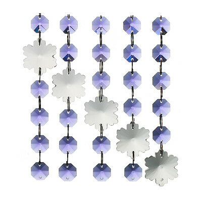 Purple Snowflake Crystal Glass Chandelier Lamp Parts Prisms Beads Pendants Decor
