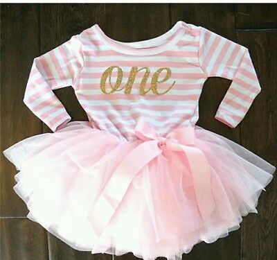 Girls First 1st Birthday Cake Smash Outfit Tutu Skirt Dress Baby Pink Gold One