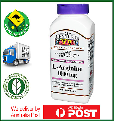 L-Arginine 1000 mg 100 Tablets by 21st Century - 200 300 400 500 Tabs Available