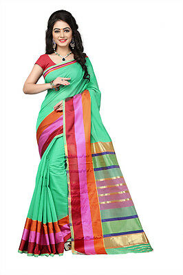 Ethnic Wear Cotton Silk Green Color Saree Party Wear Indian Traditional Sari