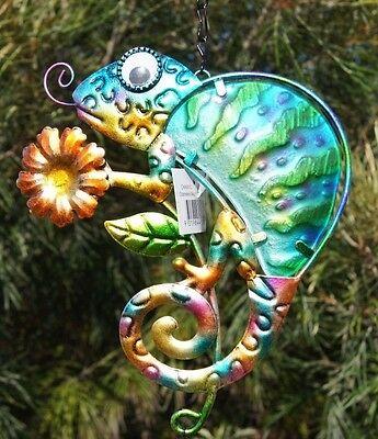 Multicoloured Chameleon WindChime with Blue Chimes