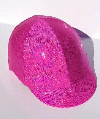 Horse Helmet Cover Pink Sparkly Lycra AUSTRALIAN  MADE