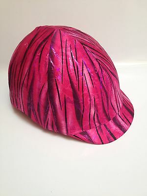 Horse Helmet Cover Pink Holographic Tiger Print Lycra AUSTRALIAN  MADE