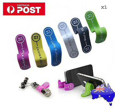 1x silicone magnet phone holder Earphone Headphone Winder Cable Cord Holder