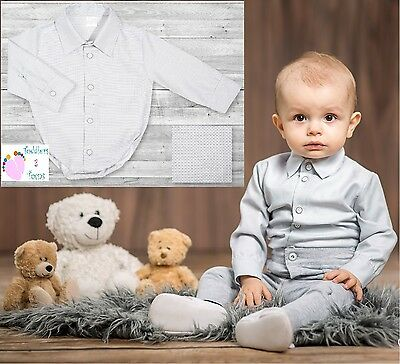 Baby Boy Grey Smart Shirt Formal Bodysuit Body Shirt Bodyshirt Long Sleeve 0-3y