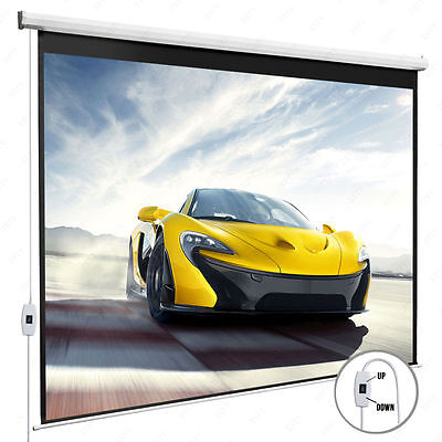 100'' 16:9 Home Movie Electric Projection Screen Matte White Pull Down Projector