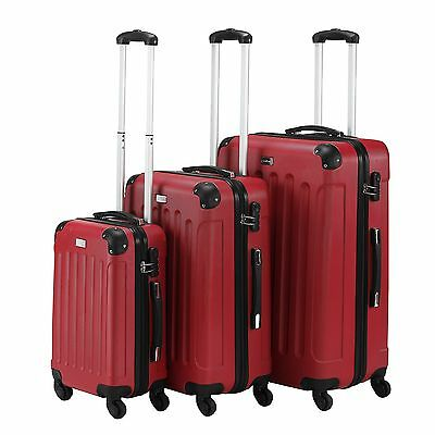 3 Piece Luggage ABS Hardshell Spinner Set Travel Suitcase Carry Suitcase Red USA