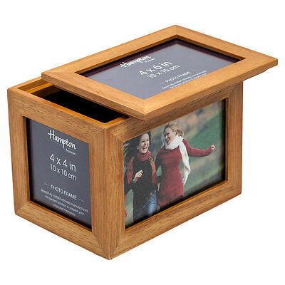DAR46WO Darley White Oak 4x6 and 4x4 Photo Storage Box Display Frame with Lid