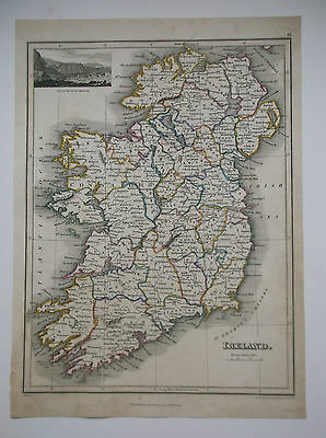 SCARCE IRELAND MAP WITH GIANTS CAUSEWAY INSET BY J.THOMSON DATE 1819 23cm x 29cm