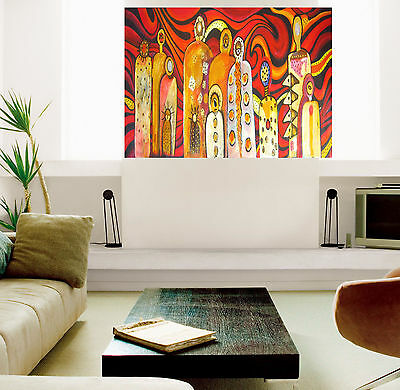 600mm Gods Bush Fire Framed Aboriginal  art print painting by Jane authentic COA