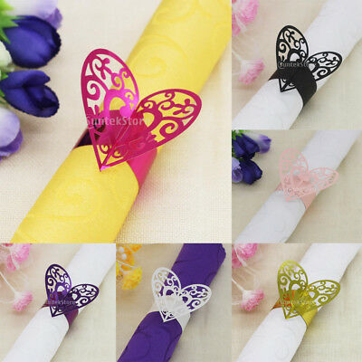 Pack of 50pcs Heart Paper Napkin Rings Holders Wedding Banquet Party Tableware